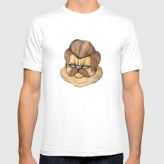 Ron Swanson Cat Mens Fitted Tee SMALL White