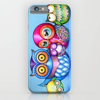 iPhone Cases featuring Crazy Owl Family  by Annya Kai