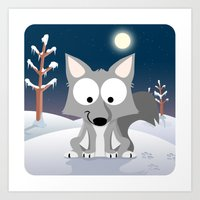 Woodland Animals Series II. wolf Art Print