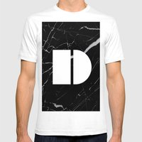 Black Marble - Alphabet D Mens Fitted Tee White SMALL