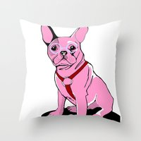 Frenchie_Pink Throw Pillow
