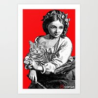 Young Girl With Cat Art Print