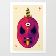 Art Print featuring LUCHADOR COSMICO by BadOdds