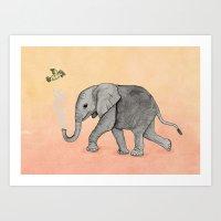 Elephant And The Bird Art Print