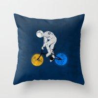 Astronaut on bicycle Throw Pillow