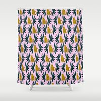 Cheetah and Leaves Shower Curtain