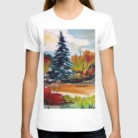 Autumn Color Womens Fitted Tee White SMALL