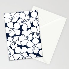 Hibiscus Flowers Navy Ivory Stationery Cards