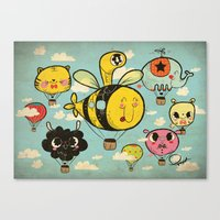 Happy Flight / The Animals Hot Air Balloon Voyagers / Patterns / Clouds Canvas Print