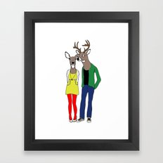 HIPSTER DEER Framed Art Print