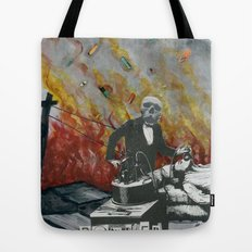 Complimentary Anesthetics amidst firebomb and spiritual tranquilizer raid. Tote Bag