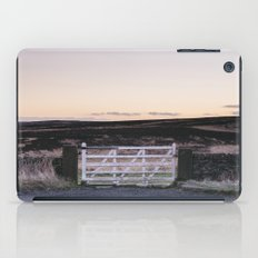 White gate leading to moorland at twilight. Derbyshire, UK. iPad Case