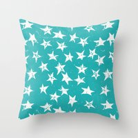 Linocut Stars - Verdigris & White Throw Pillow