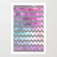 Silver Glitter Galaxy Ch… Art Print
