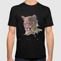 Big Cats of War illustrated: Portrait Mens Fitted Tee Tri-Black SMALL