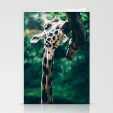 Green Portrait Of A Giraffe Stationery Cards