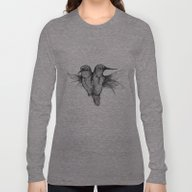 Long Sleeve T-shirt featuring Conjoined Hummingbirds by Caitlin Hackett