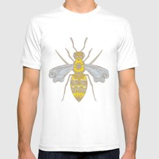 Mr Bee White SMALL Mens Fitted Tee