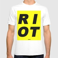 RIOT (BLACK AND YELLOW) Mens Fitted Tee White SMALL