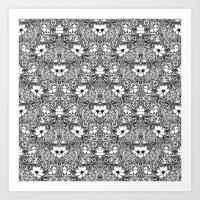 BECAUSE black and white mandala Art Print