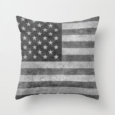 American flag - retro style in grayscale Throw Pillow