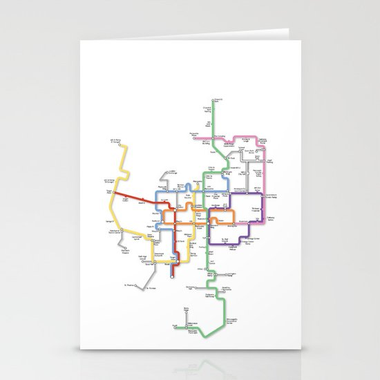 Minneapolis Skyway Map Stationery Card