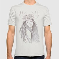 Deer Spirit Mens Fitted Tee Silver SMALL