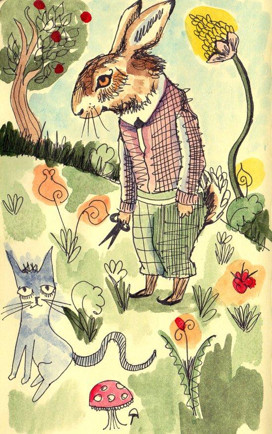 Rabbits Garden Canvas Print