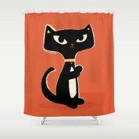 Suspiciously Cute Black … Shower Curtain