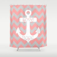 Anchor Chevron Gray Cora… Shower Curtain