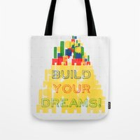 Tote Bag featuring Build your dreams! by Inspire me Print