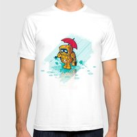 TINY ROBOT Mens Fitted Tee White SMALL
