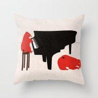 A Sleepy Bear Playing Pi… Throw Pillow