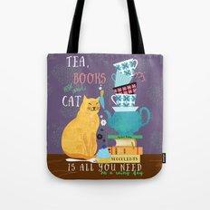 Tea, Books and Cats Tote Bag