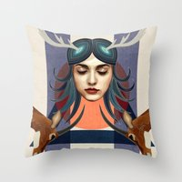 Antelope Girl Throw Pillow