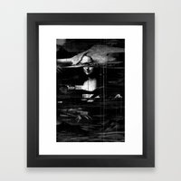 Mona Lisa Glitch Framed Art Print