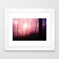 Pink fog in the forest Framed Art Print