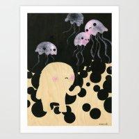 Jellyfish Wrangler Art Print