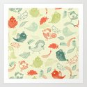 Cute birds and leaves pattern Art Print