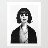 sexy Art Prints featuring Mrs Mia Wallace by Ruben Ireland