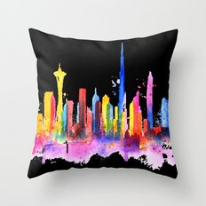 Dubai Skyline in Colors - Black Background Throw Pillow