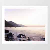 Water Washing Over the Rocks at Sunset, Waterville Beach, County Kerry, Ireland Art Print
