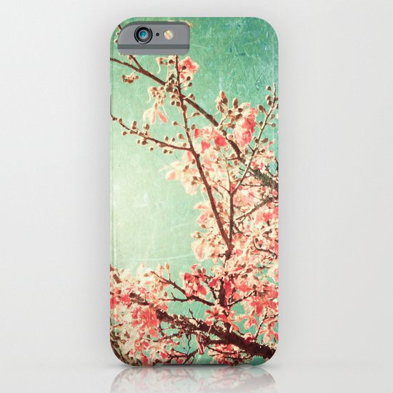 Pink Autumn Leafs on Blue Textured Sky (Vintage Nature Photography) iPhone & iPod Case