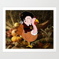 Thanksgiving Turkeys Art Print