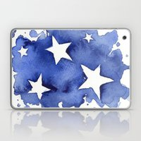 Stars Abstract Blue Watercolor Painting Laptop & iPad Skin