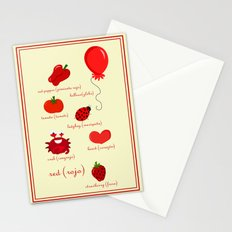 Colors: red (los colores: rojo) Stationery Cards