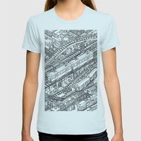 The Town of Train 3 Womens Fitted Tee Light Blue SMALL