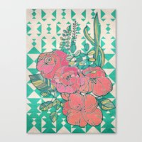 Triangles & Roses  Canvas Print