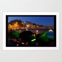 Dublin's River Liffey By Night Art Print