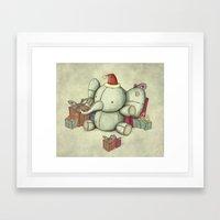 Happy Cute Elephant Framed Art Print